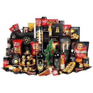 Luxe kerstpakketten lokaal vol met drank, chips etc